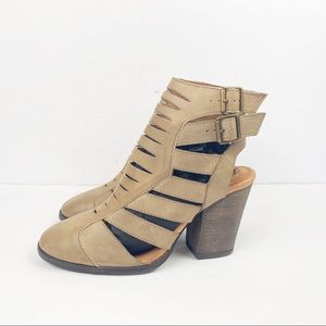 Free People 37 Hayes Leather Bootie Faded Khaki